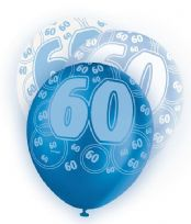 Blue Glitz Age 60 Latex Balloons (6)